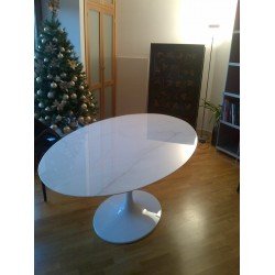 TULIP TABLE ROUND OR OVAL WHITE STATUARIO MARBLE