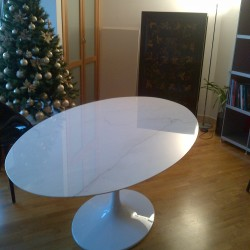TULIPANO TABLE ROUND OR OVAL WHITE STATUARIO MARBLE