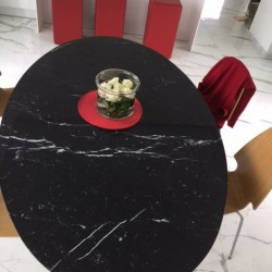 TULIP TABLE ROUND OR OVAL NERO MARQUINIA MARBLE