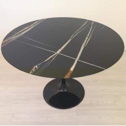 TULIP TABLE ROUND OR OVAL SAHARA NOIR MARBLE
