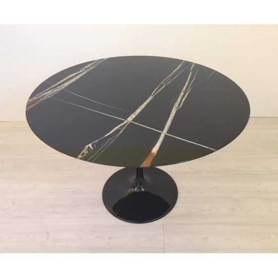 TULIP TABLE ROUND OR OVAL SAHARA NOIR MARBLE
