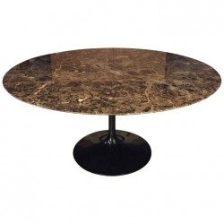 TULIP TABLE ROUND OR OVAL EMPERADOR BROWN MARBLE