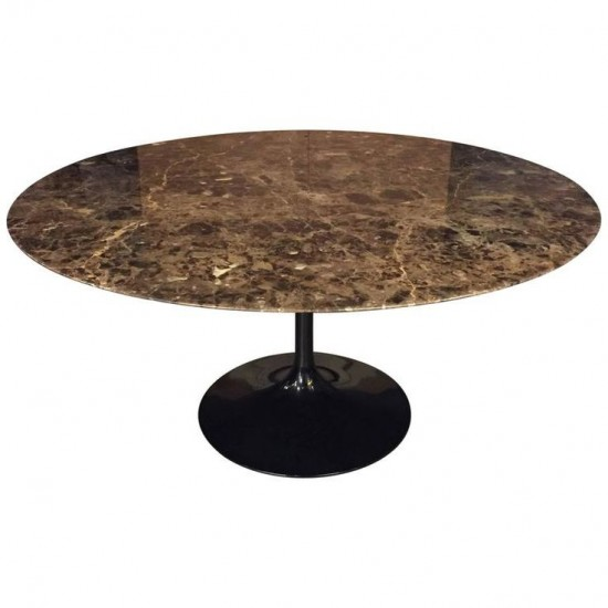 TULIPANO TABLE ROUND OR OVAL EMPERADOR BROWN MARBLE