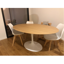 TULIP TABLE ROUND OR OVAL ASH WOOD TOP